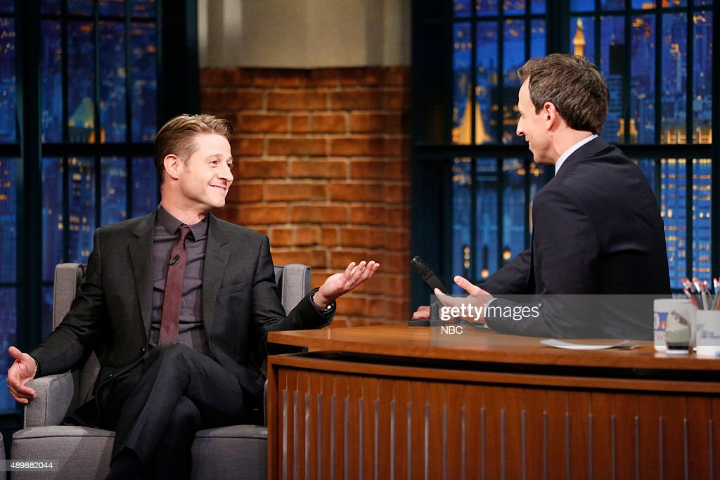 Actor Ben McKenzie during an interview with host Seth Meyers on September 24 2015