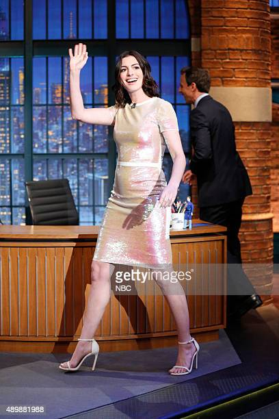 Actress Anne Hathaway arrives on September 24 2015
