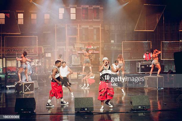 Musical guests Bell Biv Devoe Ricky Bell Michael Bivins Ronnie DeVoe perform on July 15 1993