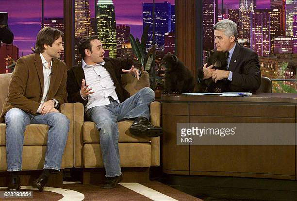 Actor David Duchovny and zoologist Jarod Miller during an interview with host Jay Leno on April 5 2004