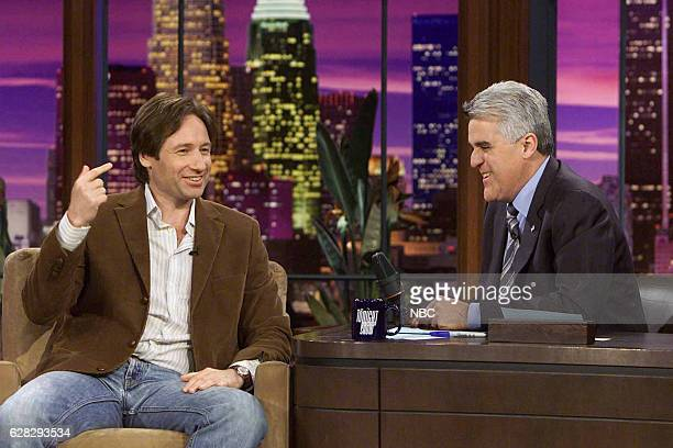 Actor David Duchovny during an interview with host Jay Leno on April 5 2004