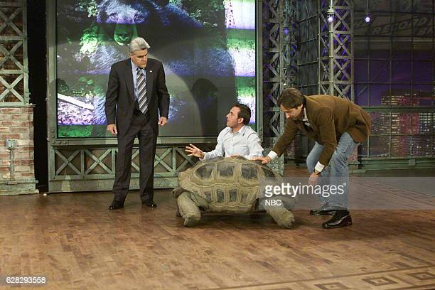 Host Jay Leno zoologist Jarod Miller and actor David Duchovny during an interview on April 5 2004