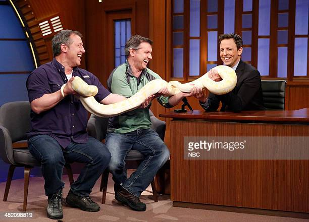 Animal experts Martin Kratt and Chris Kratt during an interview with host Seth Meyers on April 2 2014