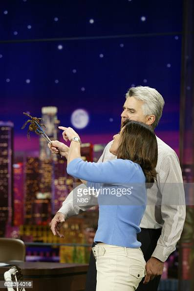 Animal trainer Julie Scardina and host Jay Leno during an animal segment on May 5 2004