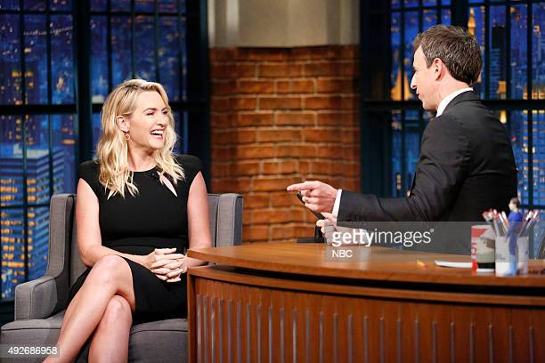 Actress Kate Winslet during an interview with host Seth Meyers on October 14 2015