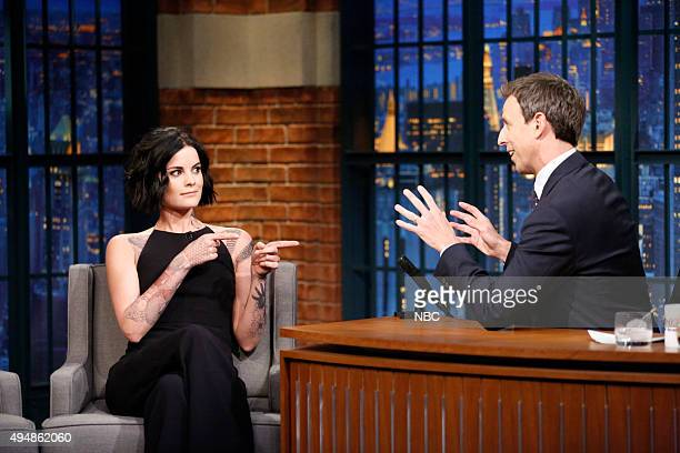 Actress Jaimie Alexander during an interview with host Seth Meyers on October 29 2015