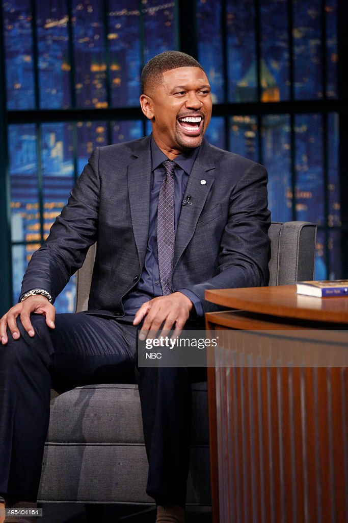 Former professional basketball player <a gi-track='captionPersonalityLinkClicked' href=/galleries/search?phrase=Jalen+Rose&family=editorial&specificpeople=201704 ng-click='$event.stopPropagation()'>Jalen Rose</a> during an interview on November 2, 2015 --