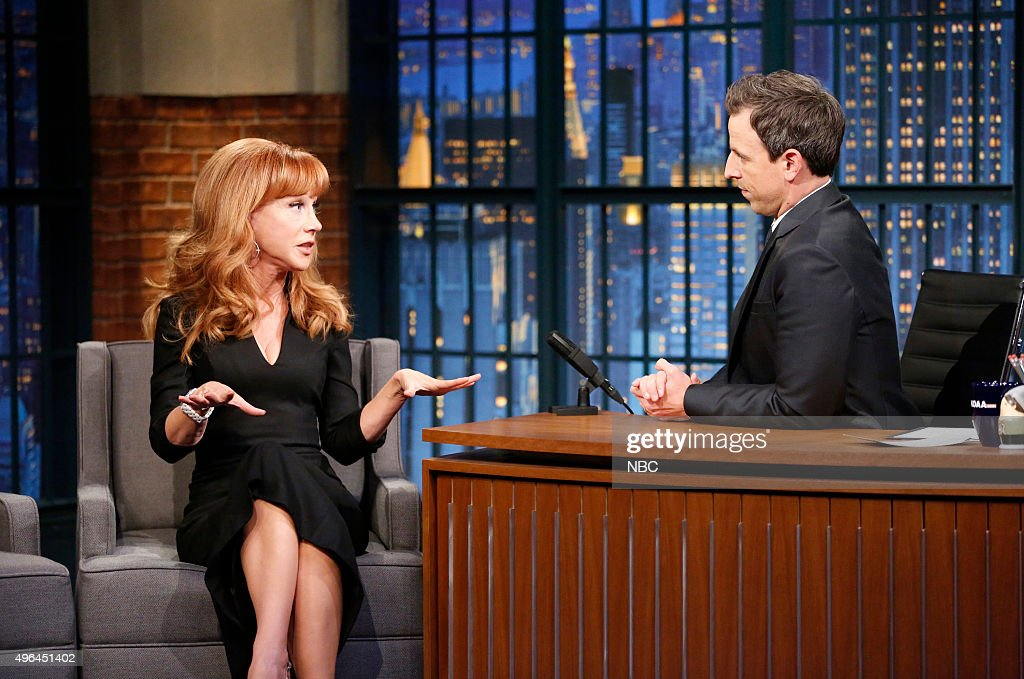 Comedian kathy griffin during an inteview with host seth meyersr on