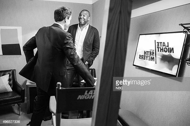 MEYERS Episode 285 Pictured Host Seth Meyers talks with author TaNehisi Coates backstage on November 9 2015