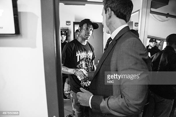 MEYERS Episode 289 Pictured Musical guest Travis Scott talks with host Seth Meyers backstage on November 16 2015
