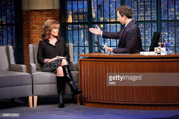 Governor Sarah Palin during an interview with host Seth Meyers on November 18 2015