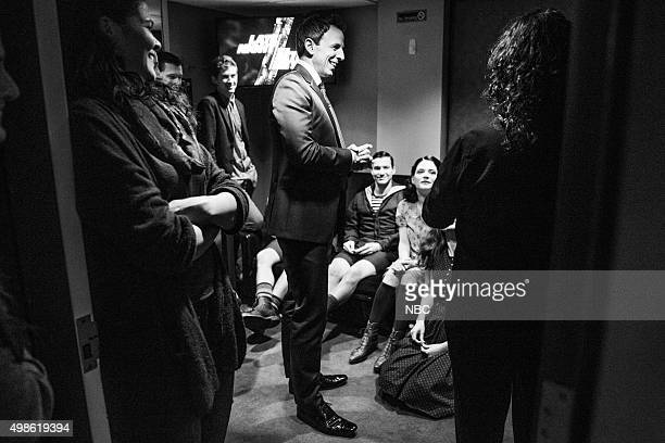 MEYERS Episode 293 Pictured Host Seth Meyers talks with the Broadway revival of 'Spring Awakening' backstage on November 18 2015