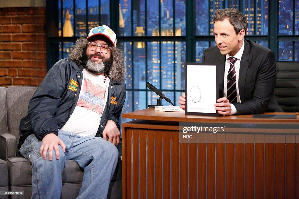 Actor/comedian Judah Friedlander during an interview with host Seth Meyers on November 24 2015