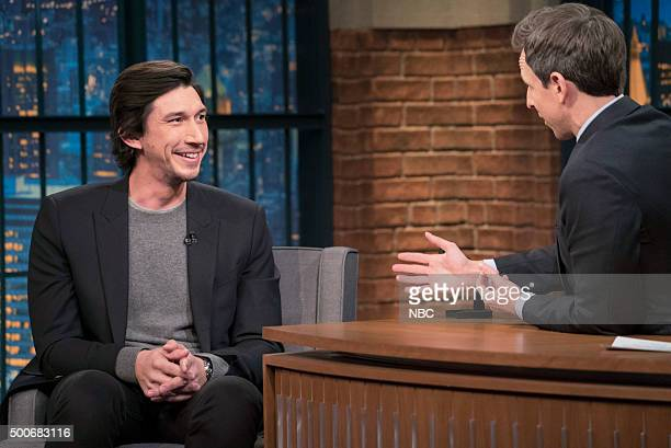 Actor Adam Driver during an interview with host Seth Meyers on December 9 2015