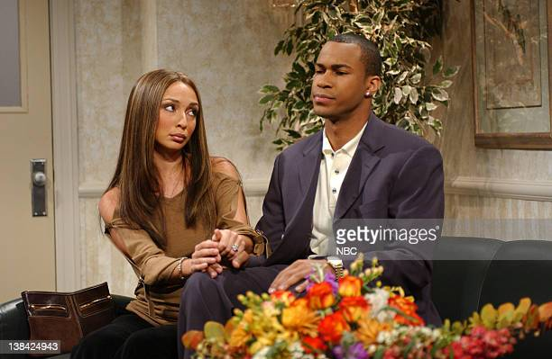 LIVE Episode 3 Air Date Pictured Maya Rudolph as Vanessa Laine Finesse Mitchell as Kobe Bryant during 'Kobe's Press Conference' skit on October 18...