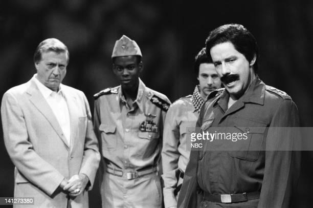 George Steinbrenner Chris Rock as Idi Amin Dana Carvey as Pol Pot Kevin Nealon as Saddam Hussein during the 'Ultra SlimFast' skit on October 20 1990...