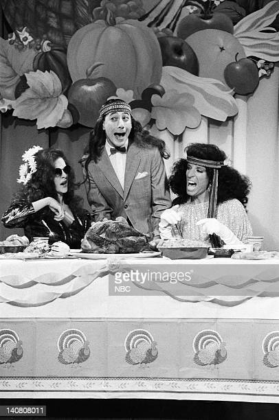 Joan Cusack as Brooke Shields PeeWee Herman Terry Sweeney as Diana Ross during the 'PeeWee's Thanksgiving Special' skit on November 23 1985 Photo by...