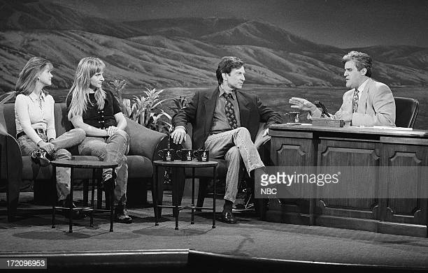 Actress Kellie Martin musical guest Melissa Etheridge actor Michael Brandon during an interview with host Jay Leno on July 3 1992