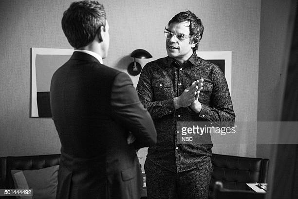MEYERS Episode 301 Pictured Host Seth Meyers talks with comedian Jemaine Clement backstage on December 14 2015