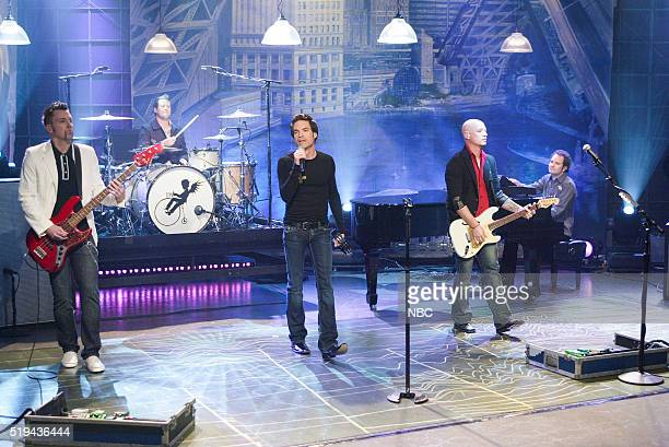 Musicians Johnny Colt Scott Underwood Patrick Monahan Jimmy Stafford and Brandon Bush of musical guest Train perform on March 6 2006