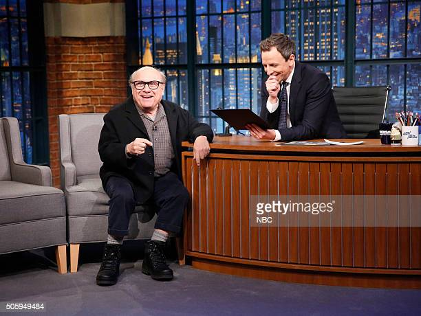 Actor Danny DeVito during an interview with host Seth Meyers on January 20 2016