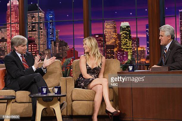 Journalist David Gregory and actress Ali Larter during an interview with host Jay Leno on October 13 2006