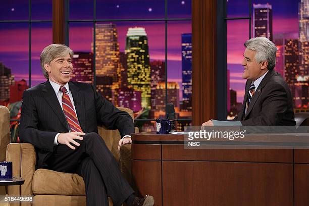 Journalist David Gregory during an interview with host Jay Leno on October 13 2006
