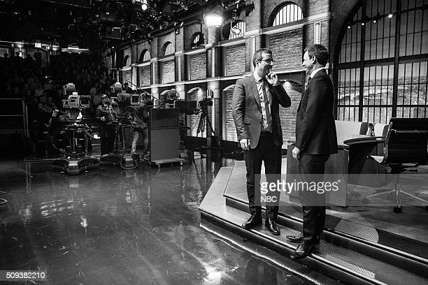 MEYERS Episode 324 Pictured Comedian John Oliver talks with host Seth Meyers during a commerical break on February 9 2016