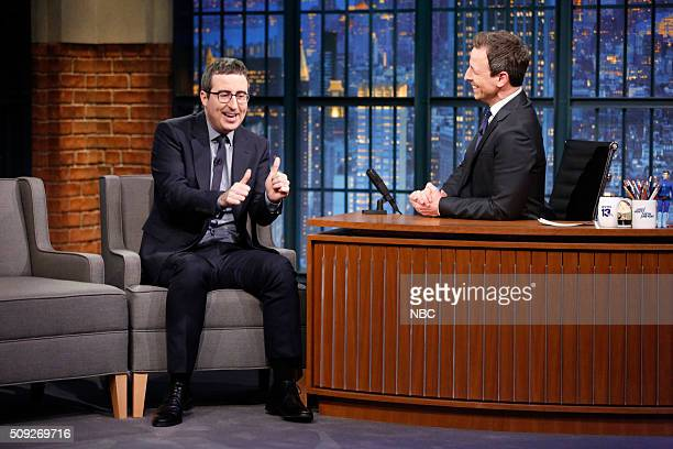 TV personality John Oliver during an interview with host Seth Meyers on February 9 2016