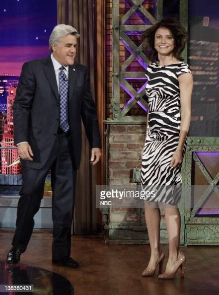 Host Jay Leno greets actress Cameron Diaz on November 27 2006