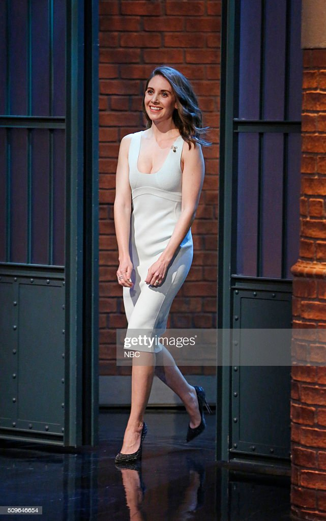 Actress <a gi-track='captionPersonalityLinkClicked' href=/galleries/search?phrase=Alison+Brie&family=editorial&specificpeople=5447578 ng-click='$event.stopPropagation()'>Alison Brie</a> arrives on February 11, 2016 --