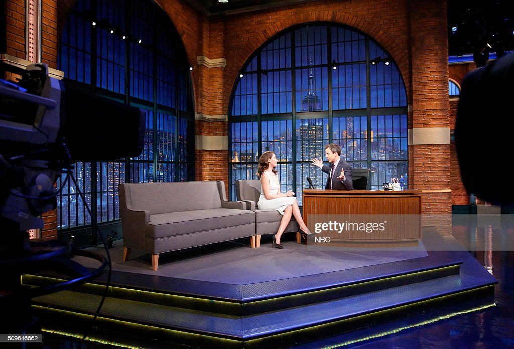 Actress <a gi-track='captionPersonalityLinkClicked' href=/galleries/search?phrase=Alison+Brie&family=editorial&specificpeople=5447578 ng-click='$event.stopPropagation()'>Alison Brie</a> during an interview with host <a gi-track='captionPersonalityLinkClicked' href=/galleries/search?phrase=Seth+Meyers&family=editorial&specificpeople=618859 ng-click='$event.stopPropagation()'>Seth Meyers</a> on February 11, 2016 --