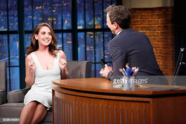 Actress Alison Brie during an interview with host Seth Meyers on February 11 2016
