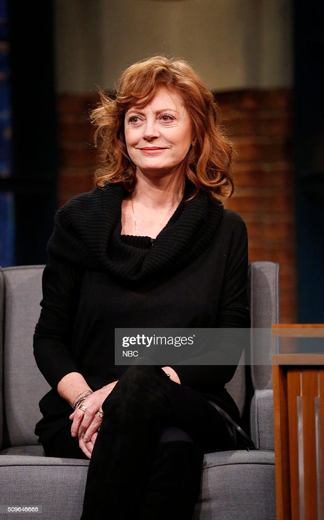 Actress <a gi-track='captionPersonalityLinkClicked' href=/galleries/search?phrase=Susan+Sarandon&family=editorial&specificpeople=202474 ng-click='$event.stopPropagation()'>Susan Sarandon</a> during an interview on February 11, 2016 --