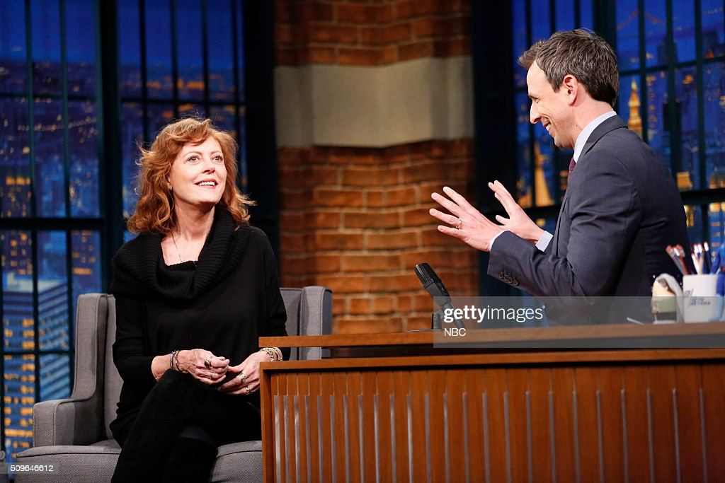 Actress Susan Sarandon during an interview with host Seth Meyers on February 11, 2016 --