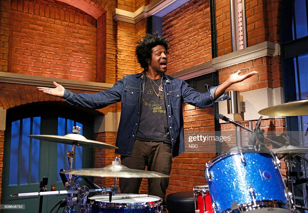 Guest drummer Jaleel Bunton performs with The 8G band on February 11, 2016 --