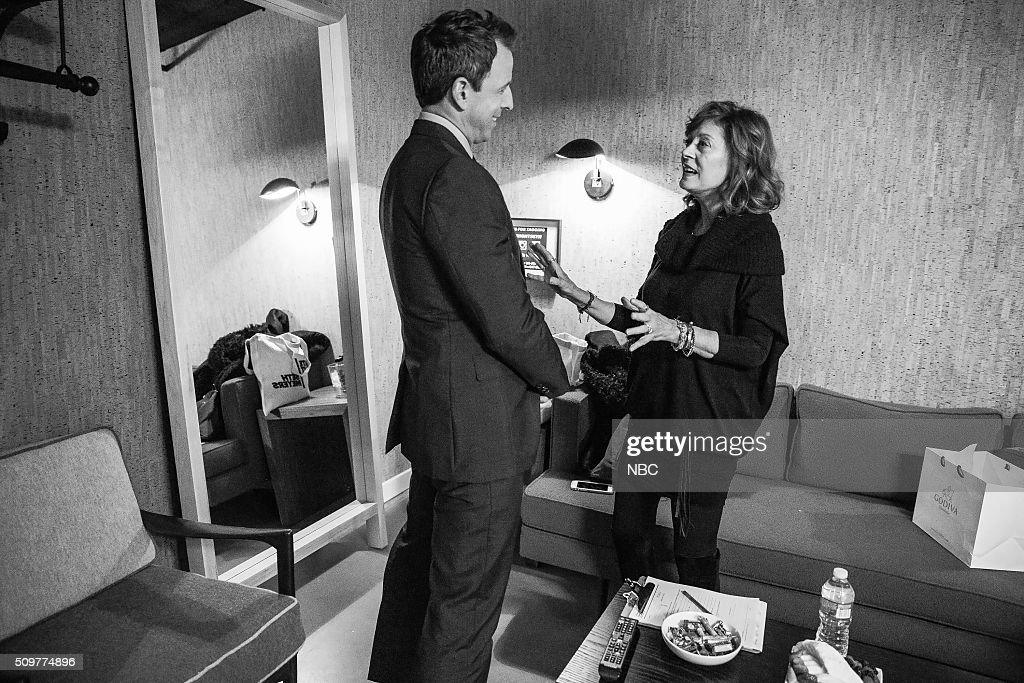 MEYERS -- (EXCLUSIVE COVERAGE) -- Episode 326 -- Pictured: (l-r) Host Seth Meyers talks with actress Susan Sarandon backstage on February 11, 2016 --