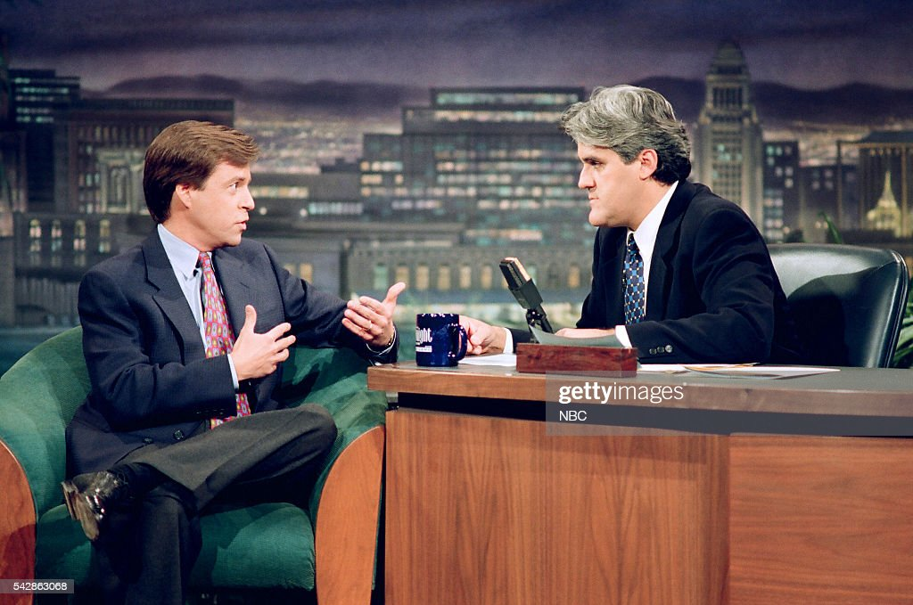 Sportscaster <a gi-track='captionPersonalityLinkClicked' href=/galleries/search?phrase=Bob+Costas&family=editorial&specificpeople=225170 ng-click='$event.stopPropagation()'>Bob Costas</a> during an interview with host <a gi-track='captionPersonalityLinkClicked' href=/galleries/search?phrase=Jay+Leno+-+Television+Host&family=editorial&specificpeople=156431 ng-click='$event.stopPropagation()'>Jay Leno</a> on October 26, 1993 --