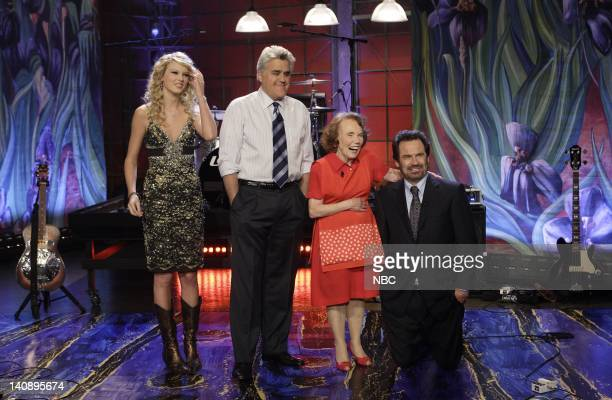 Musical guest Taylor Swift host Jay Leno Blue Ribbon baker Marjorie Johnson and actor Dennis Miller on February 13 2007 Photo by Margaret Norton/NBCU...