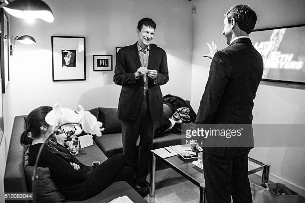 MEYERS Episode 332 Pictured Editor of The New Yorker David Remnick talks with host Seth Meyers backstage on February 23 2016