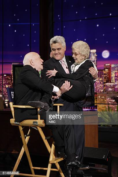 Actor Ed Asner host Jay Leno and 90 years old dancer Jane Petty during the 'Does This Impress Ed Asner' segment on May 4 2007 on May 4 2007