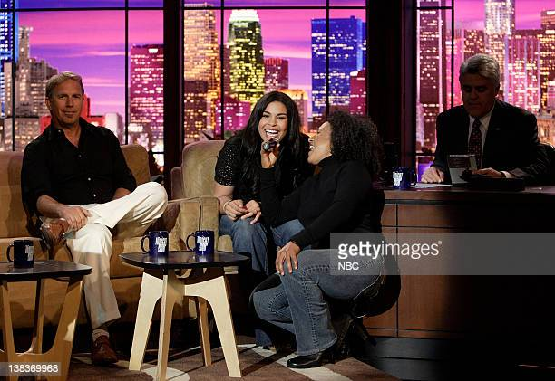 Actor Kevin Costner 'American Idol' winner 17 year old Jordin Sparks The Tonight Show band percussionist/vocalist Vicki Randle and host Jay Leno on...