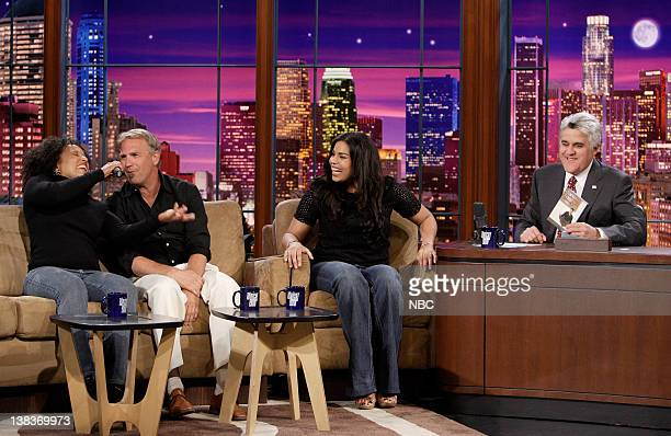 The Tonight Show band percussionist/vocalist Vicki Randle actor Kevin Costner 'American Idol' winner 17 year old Jordin Sparks and host Jay Leno on...