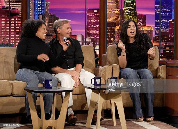 The Tonight Show band percussionist/vocalist Vicki Randle actor Kevin Costner and 'American Idol' winner 17 year old Jordin Sparks during an...