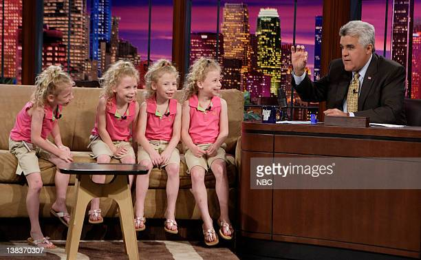 Identical quadruplets Preana Audreana Natalie and Melody Khamsa during an interview with host Jay Leno on June 11 2007