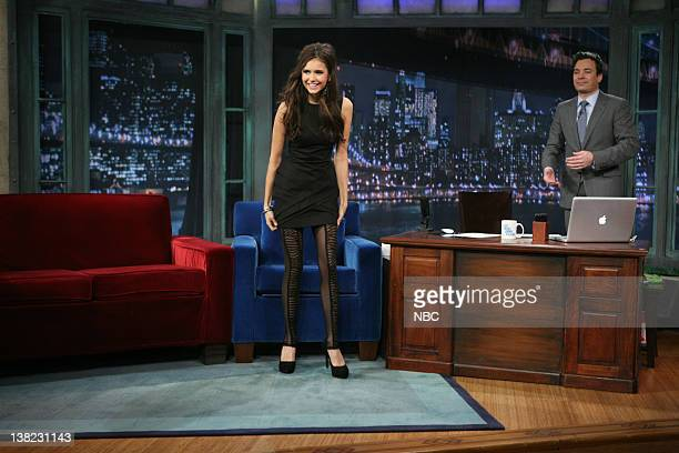 Actress Nina Dobrev during an interview with host Jimmy Fallon on November 4 2010