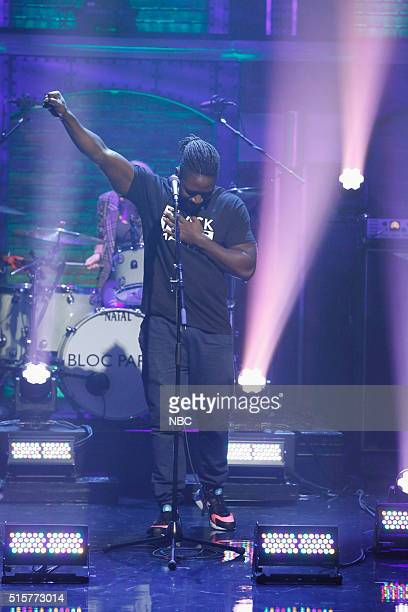 Musical guest Kele Okereke of Bloc Party performs on March 15 2016