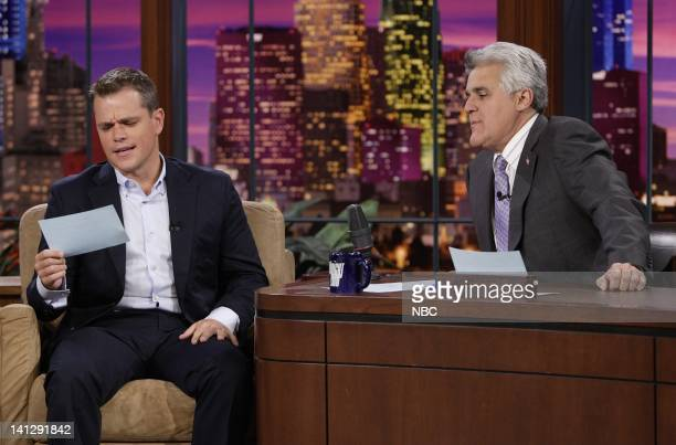 Actor Matt Damon during an interview with host Jay Leno on July 25 2007 Photo by Paul Drinkwater/NBCU Photo Bank