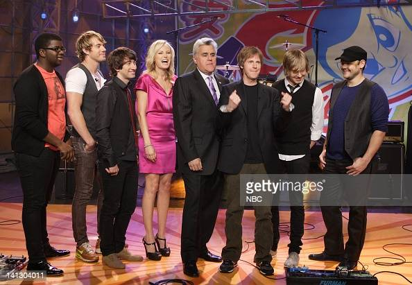 Musical guest Plain White T's actress Malin Akerman host Jay Leno and actor/comediann Dana Carvey on October 10 2007 Photo by Margaret Norton/NBCU...