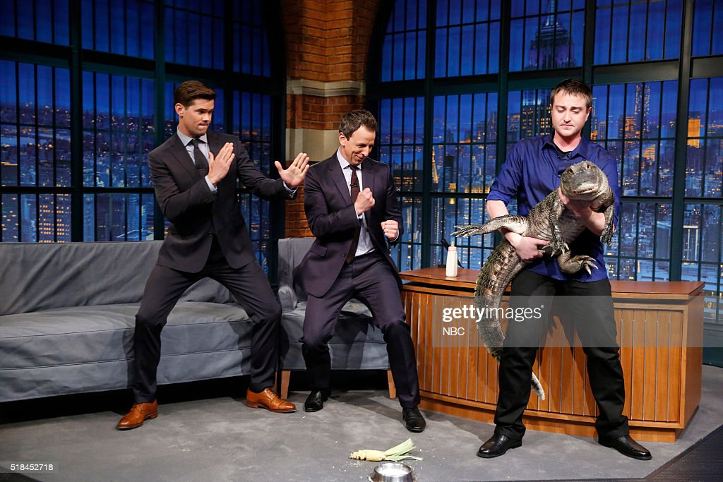 Actor Andrew Rannells, host seth Meyers, animal expert Corbin Maxey during an interview on March 31, 2016 --